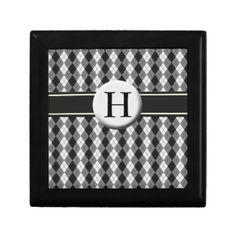 monogram preppy argyle black gift box