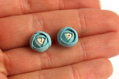 Сeramic earrings Turquoise earrings Ranunculus stud Ceramic earring Tiny stud earring Boho earrings Ranunculus earrings Bridesmaid earrings Porcelain Jewelry