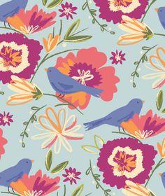 Floral birds print by Salli Sue Swindell of Studio Ass (via Print & Pattern).