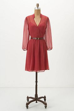 Draped Pindot Dress #anthropologie