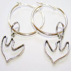 Dove Silver Plated Latchback Hoop Earrings by CreativeXpression1