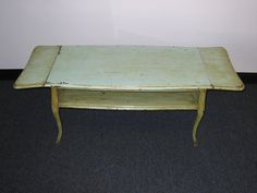 Beautiful Antique Chic Shabby Avocado Green Drop Leaf Two Tier Coffee Table http://www.etsy.com/shop/VintageLAfurniture 323-346-9927