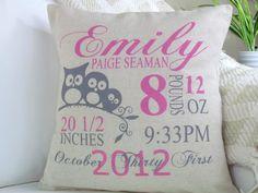 Personalized Birth Pillow Birth Stat Pillow Owl by PillowsOfPlenty