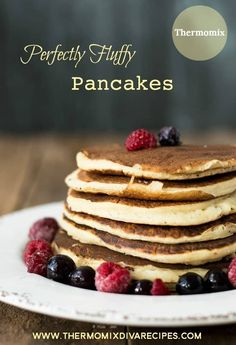Quick and easy recipe for Thermomix pancakes which turn out light and fluffy every time and never stick to the pan! #thermomix #pancakes
