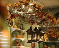 Savvy Seasons by Liz: Vintage Ladder Hanging Above Dining room table with fall foliage and lanterns. Old Ladder, Vintage Ladder, Antique Ladder, Vintage Decor, Leaning Ladder, Vintage Lanterns, Fall Home Decor, Autumn Home, Autumn Fall
