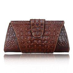 Pijushi Croco Embossed Leather Clutch Bag Cross Body Handbag Leather Clutch Bags, Leather Purses, Leather Handbags, Leather Wallet, Leather Totes, Sacs Design, Leather Bag Pattern, Ethnic Bag, Estilo Fashion