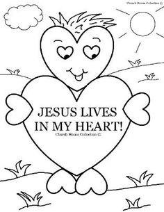 Valentine's Day Coloring Page for Sunday school Jesus Lives In My Heart for Children's Church