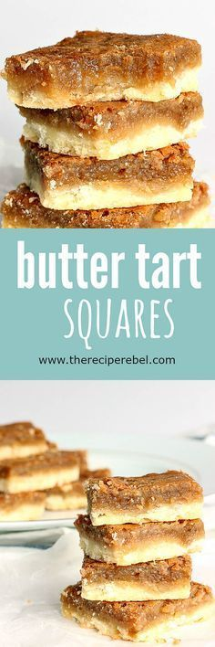 sugary, buttery filling on top of a buttery shortbread crust -- so easy and SO good! The shortcut to good butter tarts.gooey, sugary, buttery filling on top of a buttery shortbread crust -- so easy and SO good! The shortcut to good butter tarts. No Bake Desserts, Easy Desserts, Delicious Desserts, Dessert Recipes, Yummy Food, Baking Desserts, Dinner Recipes, Easy Dessert Bars, Oreo Desserts
