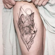Black and Grey Fox with Geometric Elements by valerakottattoo