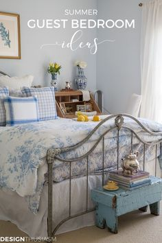 Guest Room Ideas | Do you enjoy hosting summer guests? Here's one secret to the most comfortable guest bedroom along with other guest room ideas for your summer visitors! -----> #bedroomdecorideas #bedroomideas #bedroomdecor #guestbedroom #guestbedroomideas #guestbedroomdecor #bluebedroom #cottagebedroom #frenchcountrybedroom #guestroomideas