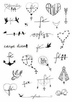 unique Friend Tattoos - Fé e Família Little Tattoos, Mini Tattoos, New Tattoos, Body Art Tattoos, Tattoo Drawings, Tattoos For Guys, Tatoos, Wrist Tattoos For Women, Tattoos For Women Small