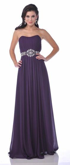 Flowy Eggplant Semi Formal Dress Rhinestone Waist Long Strapless $132.99