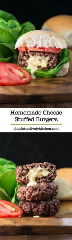 Homemade cheese stuffed burgers