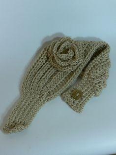 Crocheted Ear Warmer Headband with flower  by SteppingInStyle