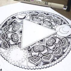 ~Progress on something different~ #art #mandala #blackandwhite #graphicart