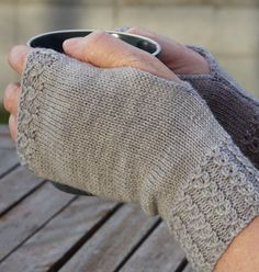 Knitting Pattern for Soul of Ahuriri Fingerless Mitts - These mitts are knit flat with twisted stitches made by slipping stitches and passing over. Sml Med Lge