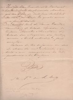 Assinado por Dom Pedro II, Imperador do Brasil.