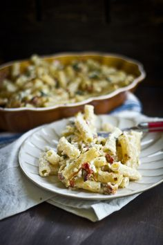Greek Macaroni & Cheese with Roast Garlic, Caramelized Leeks