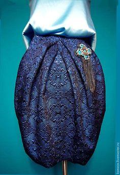 """Юбки ручной работы. Ярмарка Мастеров - ручная работа. Купить Юбка - тюльпан """"Ультрамарин"""". Handmade. Тёмно-синий, подарок, костюмная"""