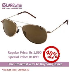 Farenheit FA-567 Golden Brown Mirror Aviator Style Sunglasses http://www.glareaffair.com/sunglasses/farenheit-fa-567-golden-brown-mirror-aviator-style-sunglasses.html  Brand : Farenheit  Regular Price: Rs1,500 Special Price: Rs899  Discount : Rs601 (40%)