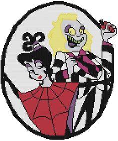 Cross Stitch PATTERN COLOR Beetlejuice Lydia Cartoon Zombie Halloween Ghost