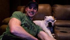"""Chris Evans and East.  """"That dog is the love of his life,"""" Mrs. Evans [his mother] says. (x) #ilovemydog"""