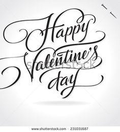 HAPPY VALENTINE'S DAY original custom hand lettering -- handmade calligraphy, vector (eps8)