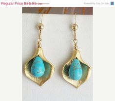 ON SALE Turquoise earrings Calla Earrings Golden Calla by AnnTig, $23.36