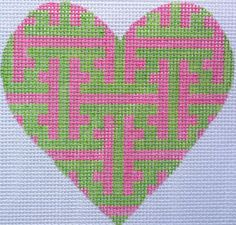 "Chinoiserie Lattice Mini Heart By Kate Dickerson Size: 4"" x 3.5"" Mesh Count: 18"