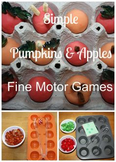 Simple Pumpkins and Apples Fine Motor Games from Little Bins for Little Hands
