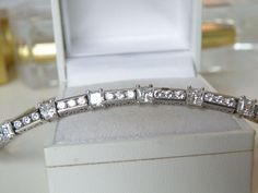 Epiphany Sterling Silver Princess Cut Channel 7ct Diamonique CZ Tennis Bracelet  #Epiphany #Tennis #WeddingDayBracelet #DiamondBracelet #BridesMaidGift #AnniversaryGift #DiamondJewelry #QVCShoppers