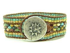 Earthtone Super Duo  Beaded Leather Wrap Cuff Bracelet, Blue Picasso Seed Beads, Tribal, 3 Row, Boho