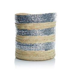 Korb, handgeflochten und mit Pailletten bestickt, gebleichtes Palmblatt Vorderansicht