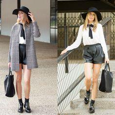 Pull & Bear Old Fashion Print Coat, H&M Black Leather Shorts, Zara Shopping Black Bag, H&M White Blouse, Zara Black Flat Booty