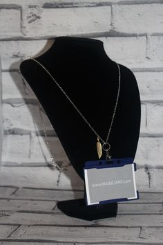 Want my work pass on this Necklace Lanyard by Masie Jane - Gold Feather Charm