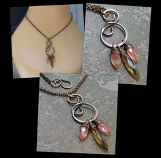 Antiqued Copper Metalwork Pendant, Wire Wrapped Marquis Cherry Quartz & Smokey Quartz Stones. $48.00, via Etsy.