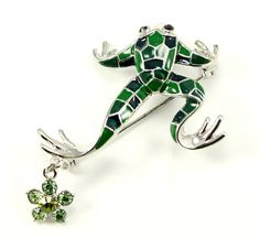Green Frog Brooch pin. Unique Frog Broach Jewelry Gift.