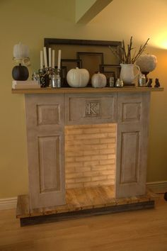 4 bifold doors that aren't being used...check, cabinet door... check, Fireplace with mantle...check.  I'm pretty sure I can do this for free and it's PERFECT!!
