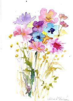 Original Watercolour Painting -Floral Bouquet - by Annabel Burton