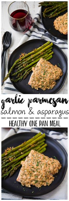 #21andup Garlic Parmesan Salmon & Asparagus is a complete sheet pan supper with ONE PAN to clean! And is made extra delicious served w/ @CavitWines So easy and SUPER tasty! #AD #CavitWines