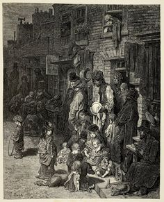 Victorian London- Whitechapel, Wentworth Street Giclee Print by Gustave Doré Victorian London, Victorian Life, Vintage London, Victorian History, Gustave Dore, London History, British History, Old London, East London