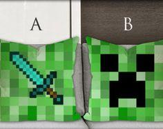 diamond sword minecraft, minecraft creeper, custom pillow cover , Square Pillow Case made in america Custom Zippered