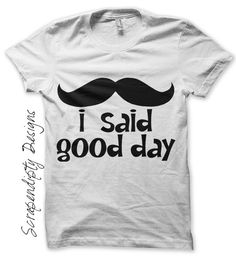 Mustache Iron on Shirt - Good Day Iron on Transfer / Kids Mustache Shirt / Funny Mens Tshirt / Kids Boy Clothing Top / Baby Clothes IT108. $2.50, via Etsy.
