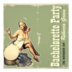 retro vintage girl bachelorette party invitations.  http://www.zazzle.com/elegantinvitation*