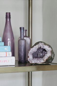 purple glass bottles on shelf, smoky purple glass, benjamin moore shadow