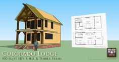 Small Lodge of Timber Frame and SIPs by Timber Trails Timber Frame and SIPs Tiny House with Gambrel Roof by Timber Trails Cottage Kits, Colorado, Get Off The Grid, Structural Insulated Panels, Prefab Cabins, Gambrel Roof, Timber Frames, Cabin Design, Tiny House