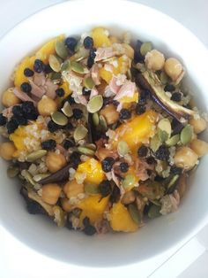 Chargrilled eggplant, chickpea, mango, Pepita, currant and quinoa salad with tuna