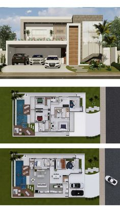 4 Bedrooms Home Design is part of House plans - This is another great home option with two decks for large plots In the lower floor stand out the spacious living areas, such as TV room, kitchen Duplex House Design, Duplex House Plans, House Front Design, Bedroom House Plans, Dream House Plans, Modern House Design, Sims House Plans, House Layout Plans, House Layouts