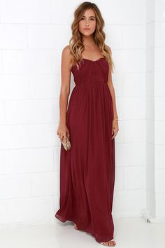 Draw Her In Burgundy Strapless Maxi Dress