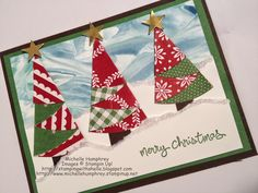Stamping with Shelle: Shaving Cream with Folded Christmas Tree.  http://stampingwithshelle.blogspot.com/2014/10/shaving-cream-with-folded-christmas-tree.html  #stampinup #shavingcream #foldedchristmastrees